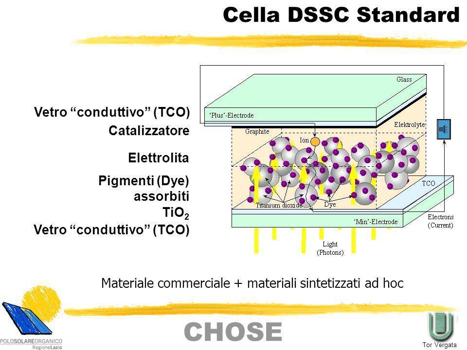Cella DSSC Standard Materiale commerciale + materiali sintetizzati ad hoc Catalizzatore Vetro conduttivo (TCO) Elettrolita Pigmenti (Dye) assorbiti Ti