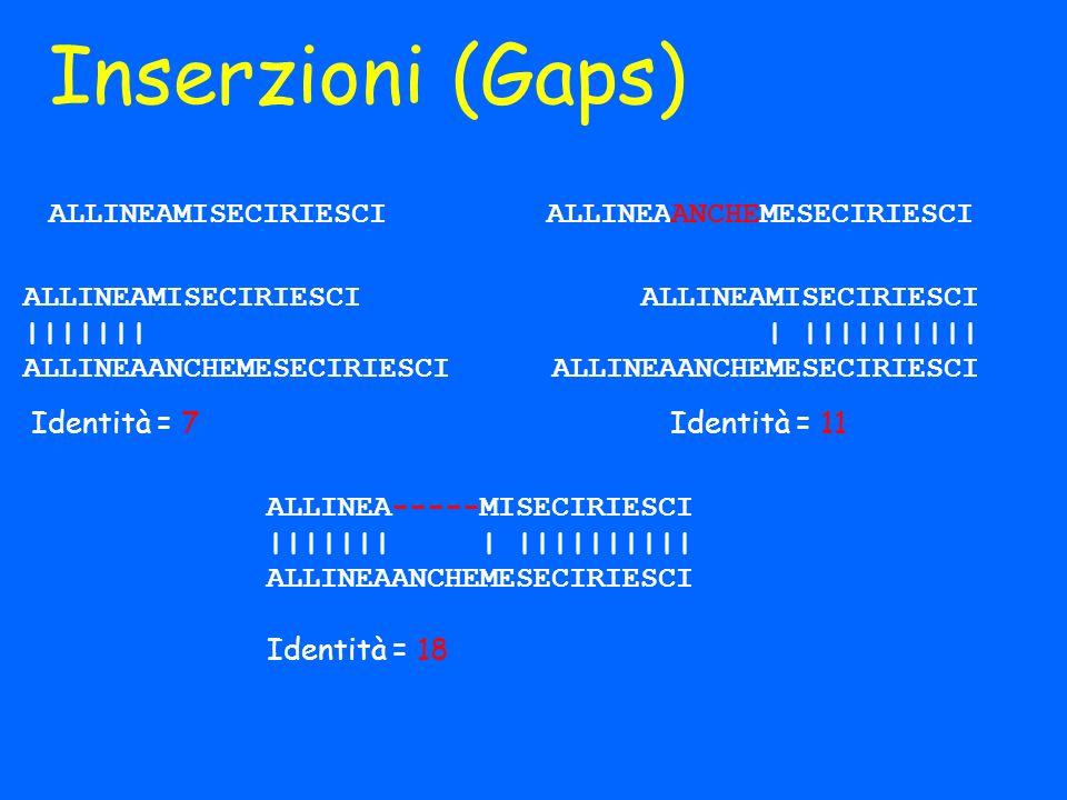 Inserzioni (Gaps) ALLINEAMISECIRIESCI ALLINEAANCHEMESECIRIESCI ALLINEAMISECIRIESCI ||||||| ALLINEAANCHEMESECIRIESCI ALLINEAMISECIRIESCI | |||||||||| A