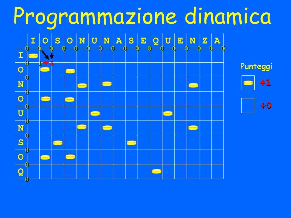 Programmazione dinamica IOSONUNASEQUENZA I O N O U N S O Q 000000000000000000 0 0 0 0 0 0 0 0 Punteggi +1 +0 1 1