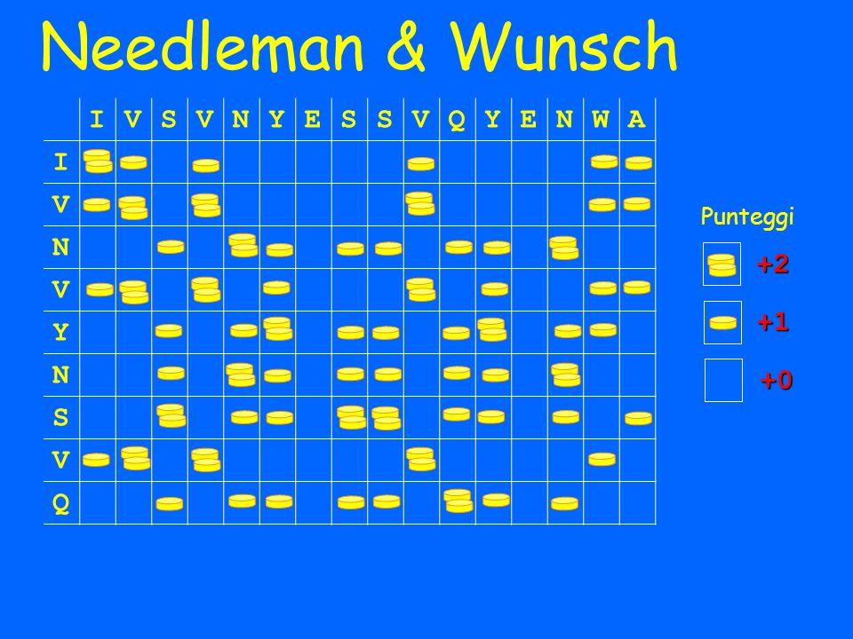 Needleman & Wunsch IVSVNYESSVQYENWA I V N V Y N S V Q Punteggi +1 +0 +2