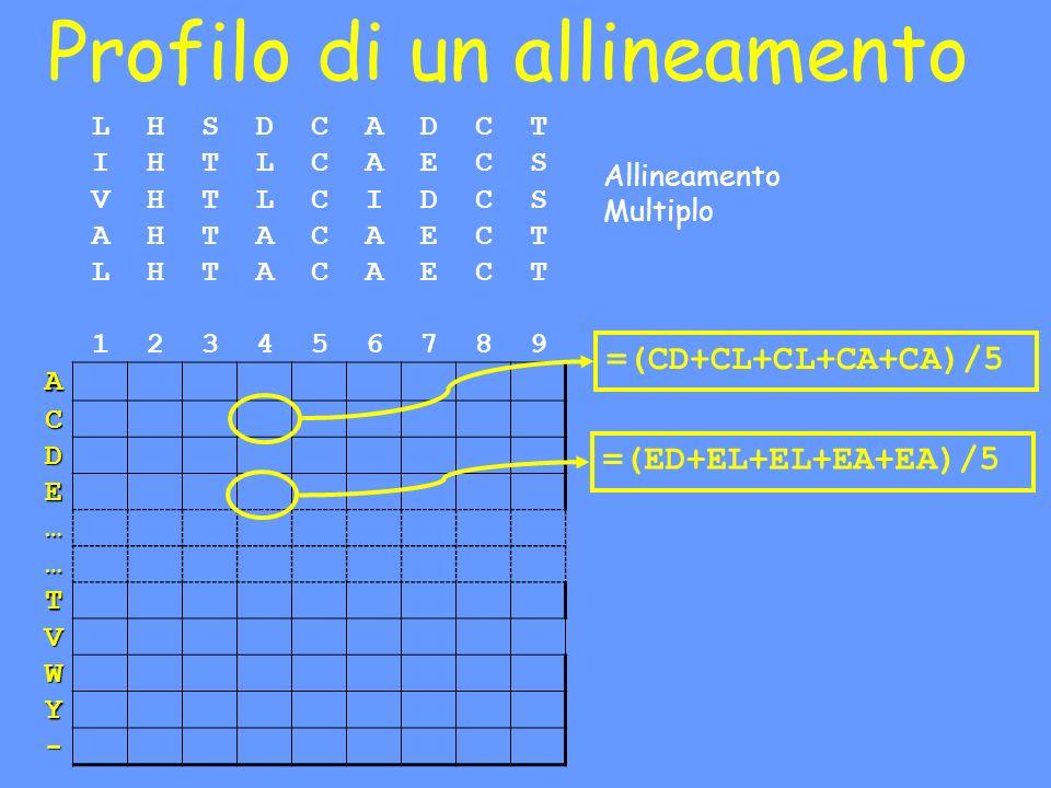 Profilo di un allineamento LHSDCADCT IHTLCAECS VHTLCIDCS AHTACAECT LHTACAECT 123456789 A C D E … … T V W Y - Allineamento Multiplo =(CD+CL+CL+CA+CA)/5 =(ED+EL+EL+EA+EA)/5