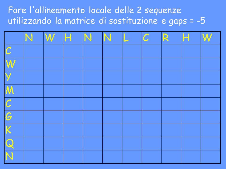 NWHNNLCRHW C W Y M C G K Q N Fare l'allineamento locale delle 2 sequenze utilizzando la matrice di sostituzione e gaps = -5