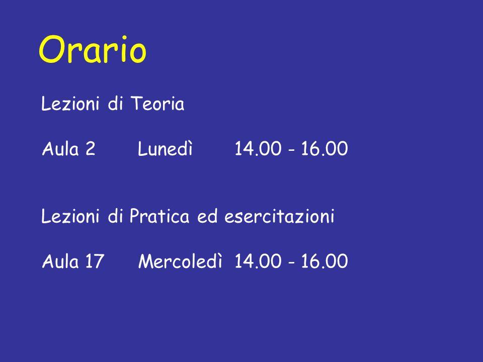 Orario Lezioni di Teoria Aula 2Lunedì14.00 - 16.00 Lezioni di Pratica ed esercitazioni Aula 17Mercoledì14.00 - 16.00