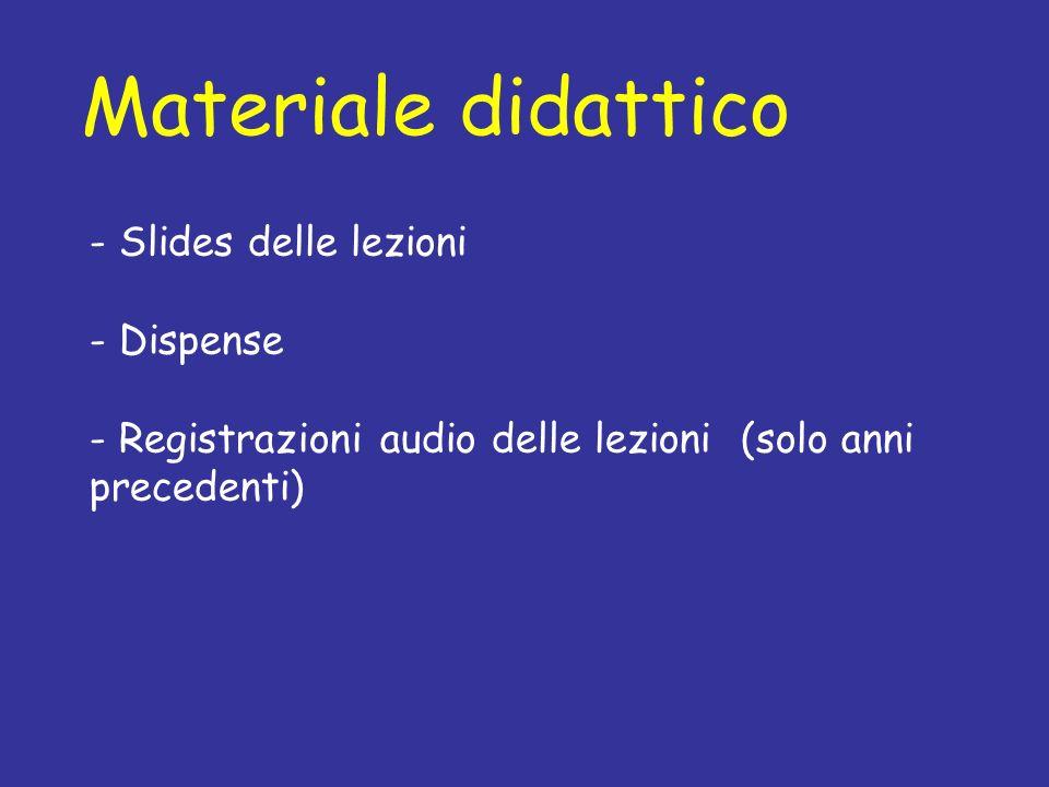 Materiale didattico - Slides delle lezioni - Dispense - Registrazioni audio delle lezioni (solo anni precedenti)