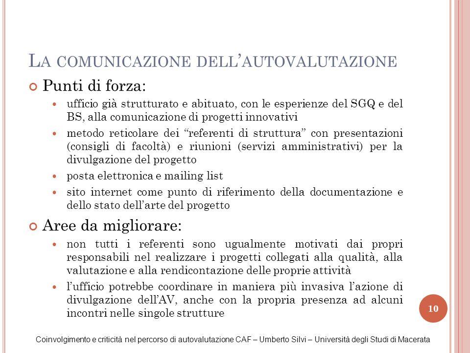 10 L A COMUNICAZIONE DELL AUTOVALUTAZIONE Coinvolgimento e criticità nel percorso di autovalutazione CAF – Umberto Silvi – Università degli Studi di M