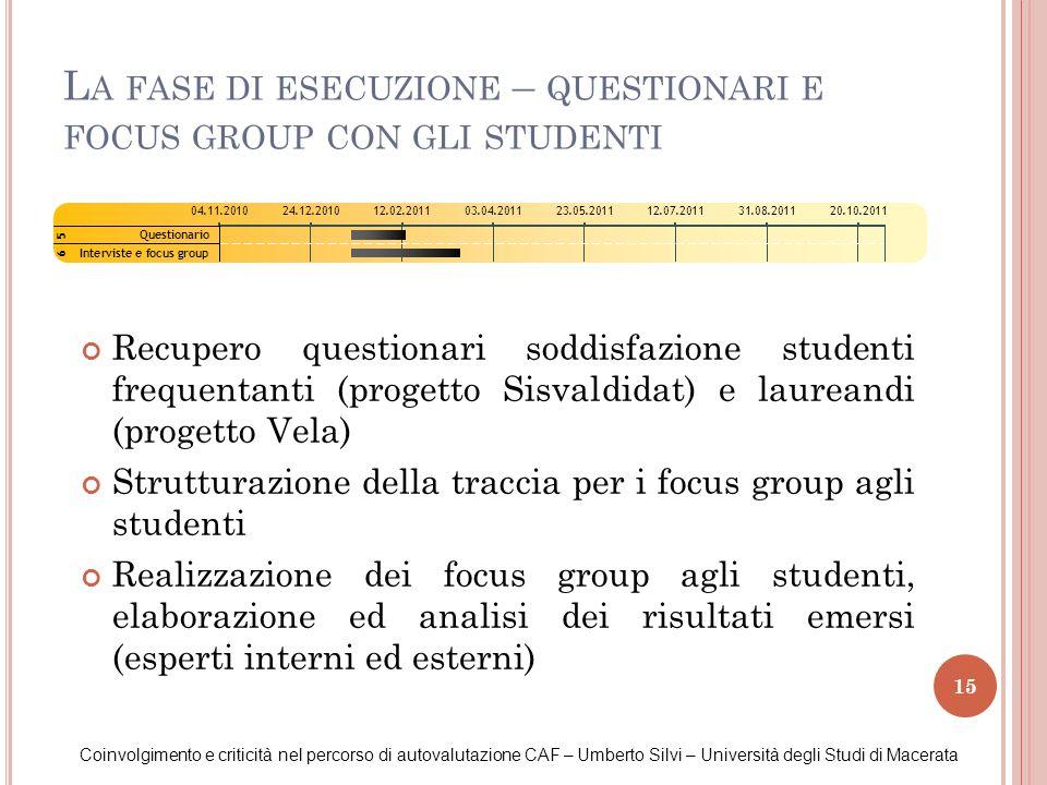 15 L A FASE DI ESECUZIONE – QUESTIONARI E FOCUS GROUP CON GLI STUDENTI Coinvolgimento e criticità nel percorso di autovalutazione CAF – Umberto Silvi