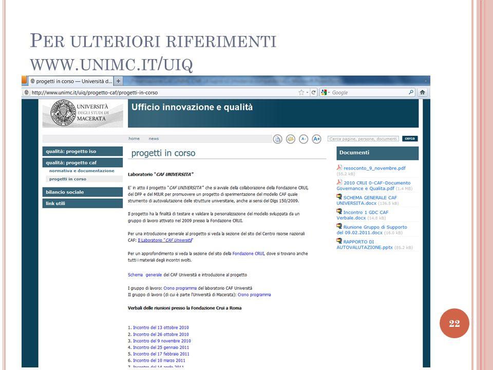 22 P ER ULTERIORI RIFERIMENTI WWW. UNIMC. IT / UIQ