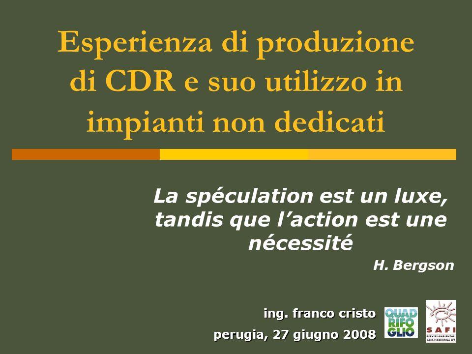 Esperienza di produzione di CDR e suo utilizzo in impianti non dedicati La spéculation est un luxe, tandis que laction est une nécessité H. Bergson in