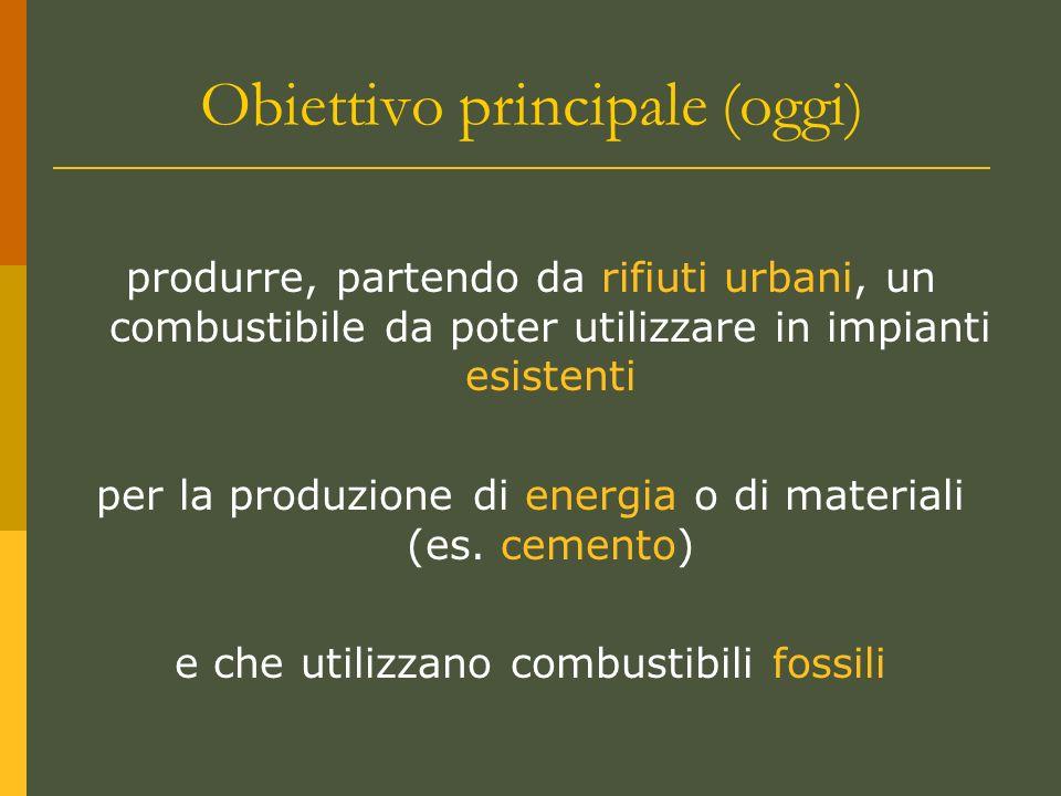 Obiettivo principale (oggi) produrre, partendo da rifiuti urbani, un combustibile da poter utilizzare in impianti esistenti per la produzione di energia o di materiali (es.