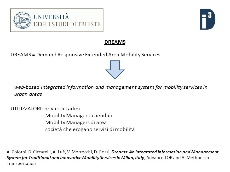A. Colorni, D. Ciccarelli, A. Luè, V. Morrocchi, D. Rossi, Dreams: An Integrated Information and Management System for Traditional and Innovative Mobi