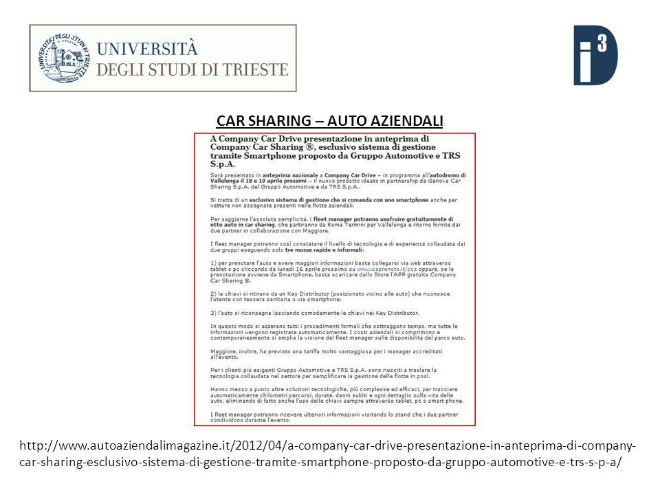 CAR SHARING – AUTO AZIENDALI http://www.autoaziendalimagazine.it/2012/04/a-company-car-drive-presentazione-in-anteprima-di-company- car-sharing-esclusivo-sistema-di-gestione-tramite-smartphone-proposto-da-gruppo-automotive-e-trs-s-p-a/
