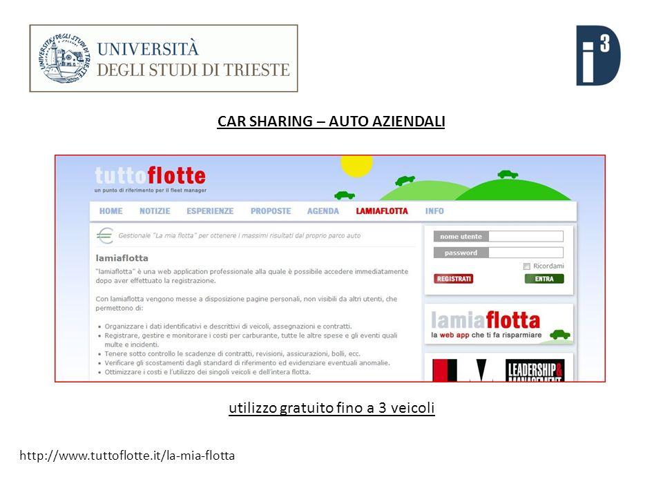 CAR SHARING – AUTO AZIENDALI http://www.tuttoflotte.it/la-mia-flotta utilizzo gratuito fino a 3 veicoli