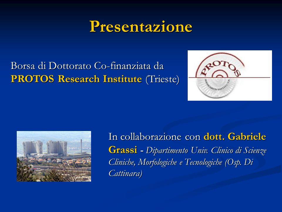 Presentazione Borsa di Dottorato Co-finanziata da PROTOS Research Institute (Trieste) In collaborazione con dott. Gabriele Grassi - Dipartimento Univ.