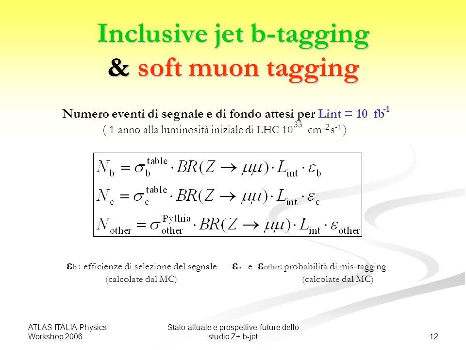 ATLAS ITALIA Physics Workshop 2006 12 Stato attuale e prospettive future dello studio Z+ b-jet Inclusive jet b-tagging & soft muon tagging b : efficienze di selezione del segnale c e other : probabilità di mis-tagging (calcolate dal MC) (calcolate dal MC) Numero eventi di segnale e di fondo attesi per Lint = 10 fb ( 1 anno alla luminosità iniziale di LHC 10 cm s ) -2 33