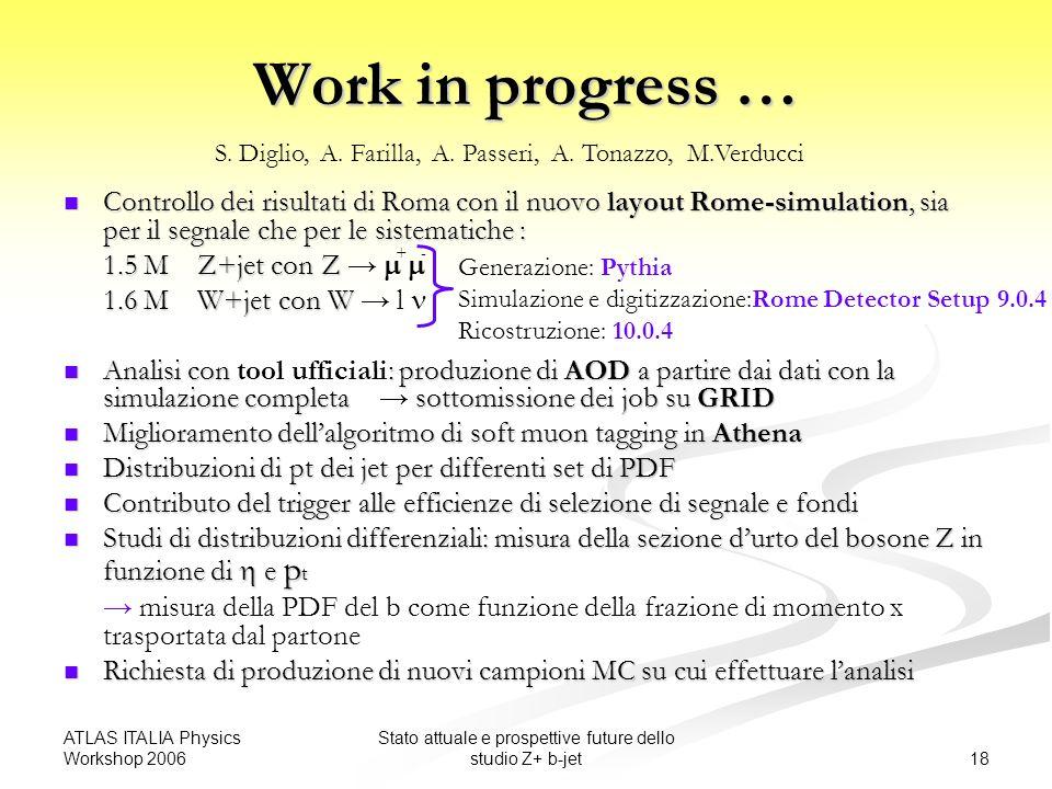 ATLAS ITALIA Physics Workshop 2006 18 Stato attuale e prospettive future dello studio Z+ b-jet Work in progress … Controllo dei risultati di Roma con il nuovo layout Rome-simulation, sia per il segnale che per le sistematiche : Controllo dei risultati di Roma con il nuovo layout Rome-simulation, sia per il segnale che per le sistematiche : 1.5 M Z+jet con Z 1.5 M Z+jet con Z 1.6 M W+jet con W 1.6 M W+jet con W l Analisi con : produzione di AOD a partire dai dati con la simulazione completa sottomissione dei job su GRID Analisi con tool ufficiali: produzione di AOD a partire dai dati con la simulazione completa sottomissione dei job su GRID Miglioramento dellalgoritmo di soft muon tagging in Athena Miglioramento dellalgoritmo di soft muon tagging in Athena Distribuzioni di pt dei jet per differenti set di PDF Distribuzioni di pt dei jet per differenti set di PDF Contributo del trigger alle efficienze di selezione di segnale e fondi Contributo del trigger alle efficienze di selezione di segnale e fondi Studi di distribuzioni differenziali: misura della sezione durto del bosone Z in funzione di e p t Studi di distribuzioni differenziali: misura della sezione durto del bosone Z in funzione di e p t misura della PDF del b come funzione della frazione di momento x trasportata dal partone Richiesta di produzione di nuovi campioni MC su cui effettuare lanalisi Richiesta di produzione di nuovi campioni MC su cui effettuare lanalisi S.