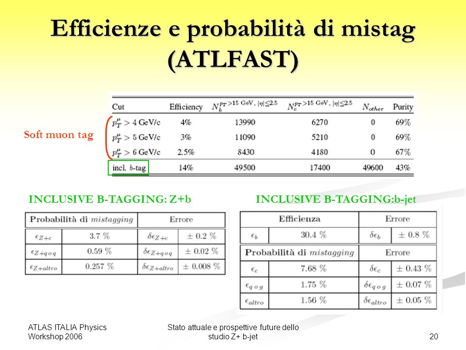 ATLAS ITALIA Physics Workshop 2006 20 Stato attuale e prospettive future dello studio Z+ b-jet Efficienze e probabilità di mistag (ATLFAST) INCLUSIVE B-TAGGING: Z+b Soft muon tag INCLUSIVE B-TAGGING:b-jet