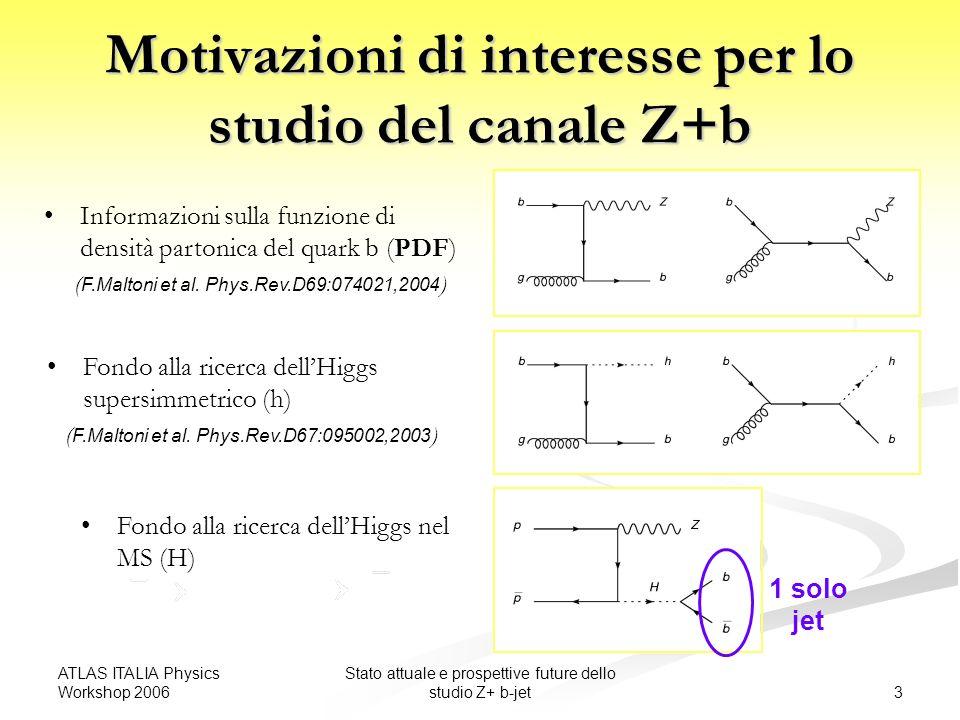 ATLAS ITALIA Physics Workshop 2006 3 Stato attuale e prospettive future dello studio Z+ b-jet Motivazioni di interesse per lo studio del canale Z+b Informazioni sulla funzione di densità partonica del quark b (PDF) ( F.Maltoni et al.
