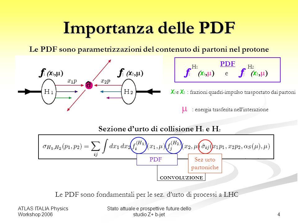 ATLAS ITALIA Physics Workshop 2006 4 Stato attuale e prospettive future dello studio Z+ b-jet Importanza delle PDF Le PDF sono parametrizzazioni del contenuto di partoni nel protone PDF X 1 e X 2 : frazioni quadri-impulso trasportato dai partoni : energia trasferita nellinterazione Sezione durto di collisione H 1 e H 2 Sez urto partoniche PDF CONVOLUZIONE Le PDF sono fondamentali per le sez.