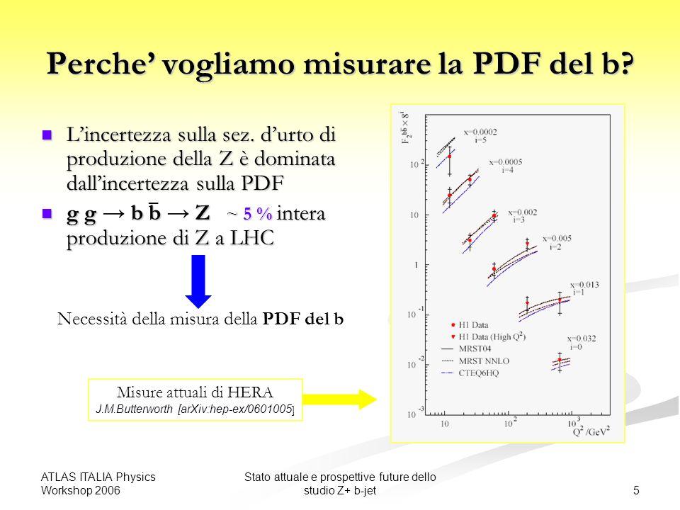 ATLAS ITALIA Physics Workshop 2006 6 Stato attuale e prospettive future dello studio Z+ b-jet Regime cinematico accessibile a LHC |y|< 2.5 (regione misurabile) 10 < x < 0.1 -4 Contributo principale alle sez.