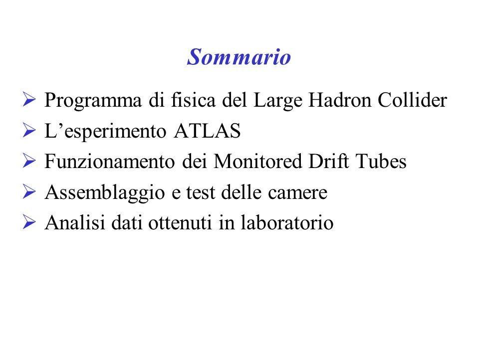 Sommario Programma di fisica del Large Hadron Collider Lesperimento ATLAS Funzionamento dei Monitored Drift Tubes Assemblaggio e test delle camere Analisi dati ottenuti in laboratorio