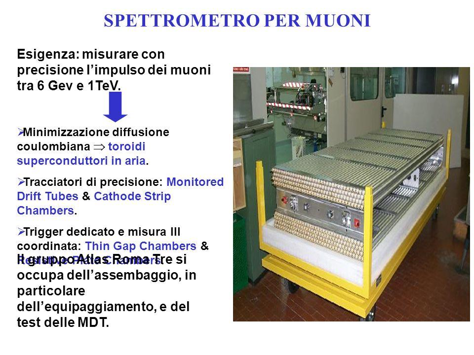 SPETTROMETRO PER MUONI Minimizzazione diffusione coulombiana toroidi superconduttori in aria.