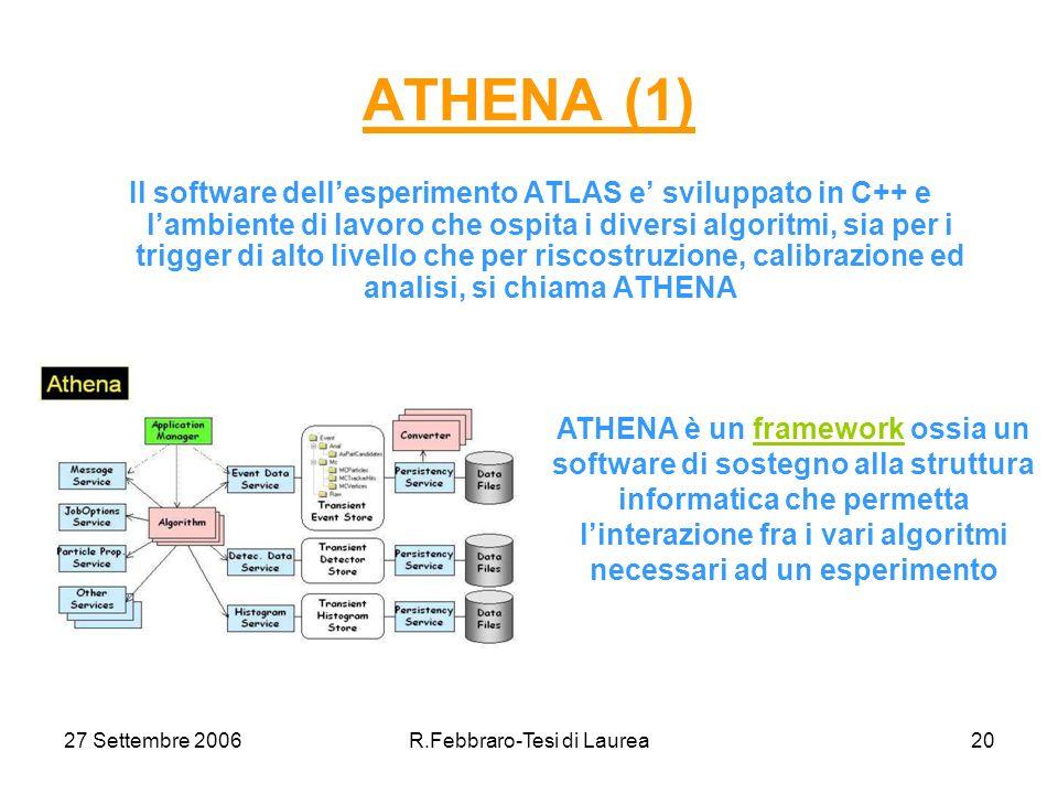 27 Settembre 2006R.Febbraro-Tesi di Laurea20 ATHENA (1) Il software dellesperimento ATLAS e sviluppato in C++ e lambiente di lavoro che ospita i diversi algoritmi, sia per i trigger di alto livello che per riscostruzione, calibrazione ed analisi, si chiama ATHENA ATHENA è un framework ossia un software di sostegno alla struttura informatica che permetta linterazione fra i vari algoritmi necessari ad un esperimento