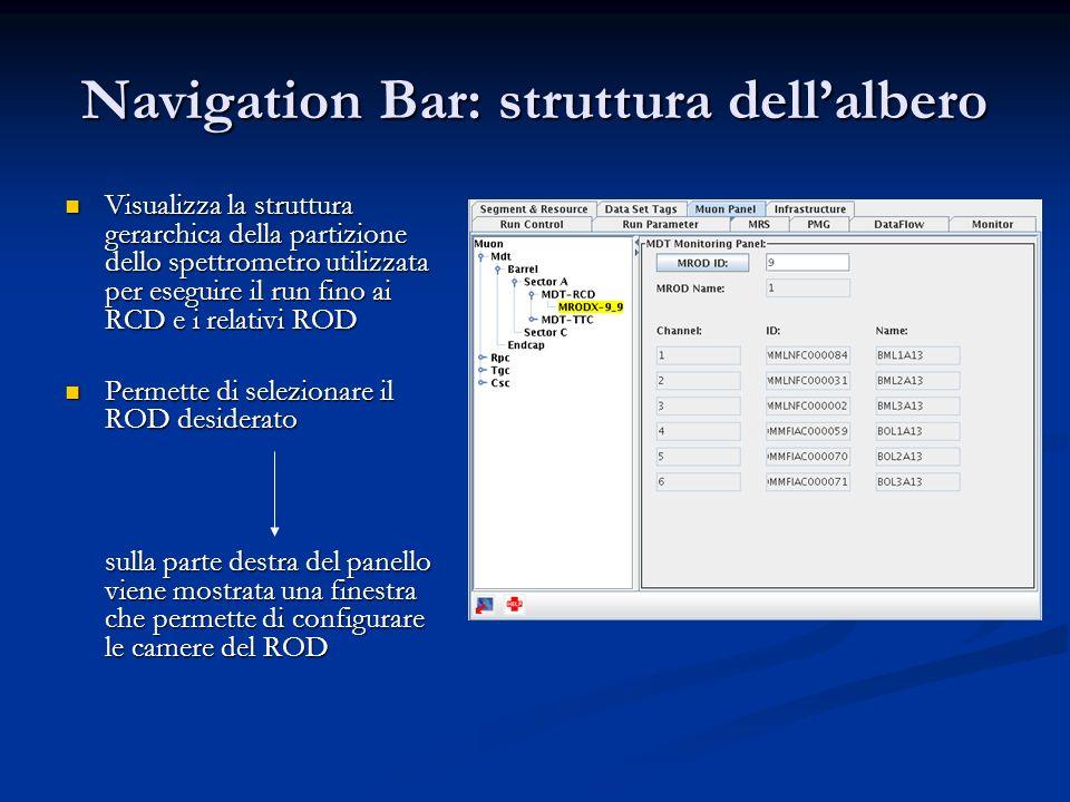 Navigation Bar: struttura dellalbero Visualizza la struttura gerarchica della partizione dello spettrometro utilizzata per eseguire il run fino ai RCD e i relativi ROD Visualizza la struttura gerarchica della partizione dello spettrometro utilizzata per eseguire il run fino ai RCD e i relativi ROD Permette di selezionare il ROD desiderato Permette di selezionare il ROD desiderato sulla parte destra del panello viene mostrata una finestra che permette di configurare le camere del ROD