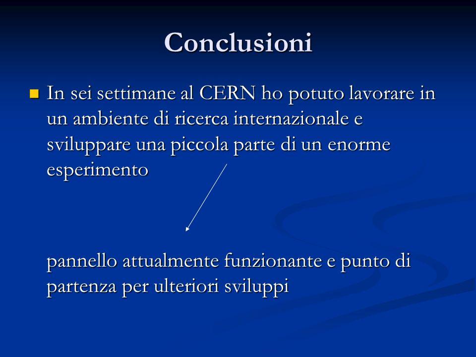 Conclusioni In sei settimane al CERN ho potuto lavorare in un ambiente di ricerca internazionale e sviluppare una piccola parte di un enorme esperimento In sei settimane al CERN ho potuto lavorare in un ambiente di ricerca internazionale e sviluppare una piccola parte di un enorme esperimento pannello attualmente funzionante e punto di partenza per ulteriori sviluppi