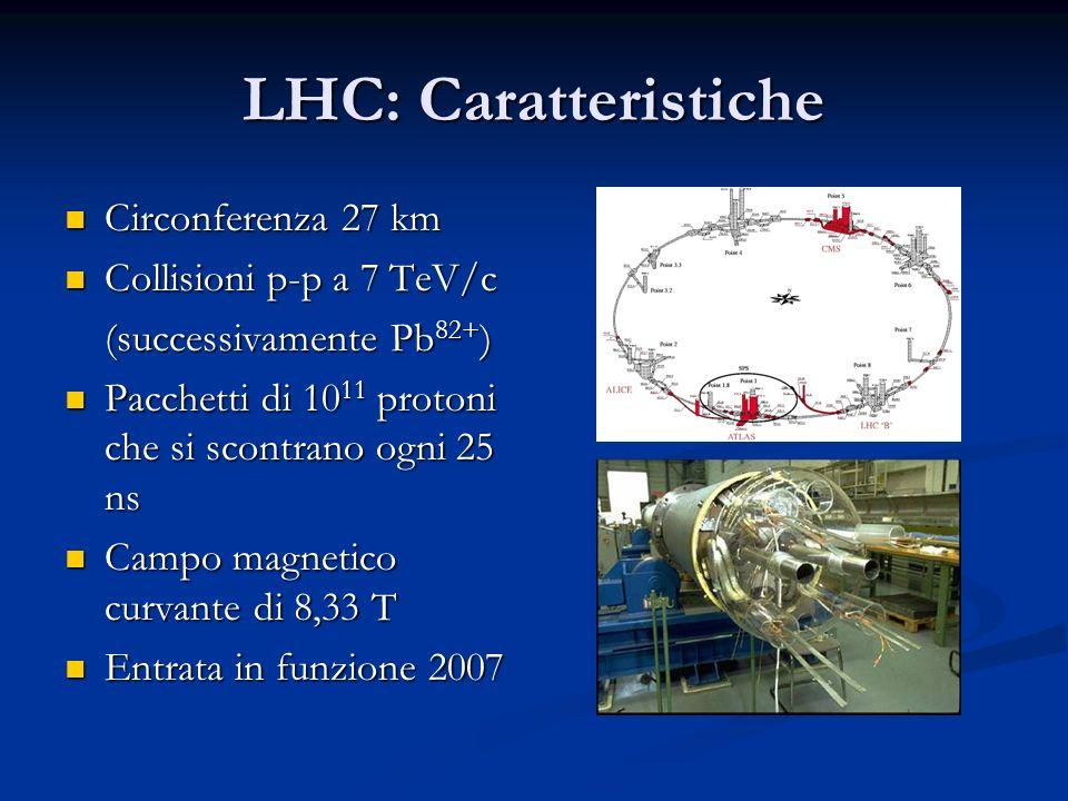 LHC: Caratteristiche Circonferenza 27 km Circonferenza 27 km Collisioni p-p a 7 TeV/c Collisioni p-p a 7 TeV/c (successivamente Pb 82+ ) Pacchetti di 10 11 protoni che si scontrano ogni 25 ns Pacchetti di 10 11 protoni che si scontrano ogni 25 ns Campo magnetico curvante di 8,33 T Campo magnetico curvante di 8,33 T Entrata in funzione 2007 Entrata in funzione 2007