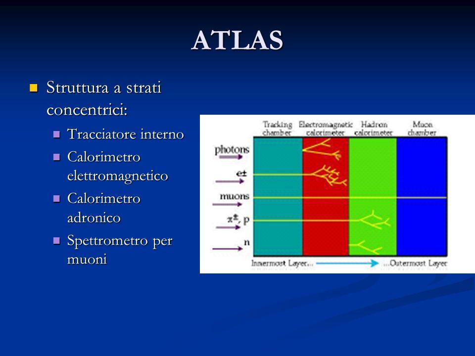 ATLAS Struttura a strati concentrici: Struttura a strati concentrici: Tracciatore interno Tracciatore interno Calorimetro elettromagnetico Calorimetro elettromagnetico Calorimetro adronico Calorimetro adronico Spettrometro per muoni Spettrometro per muoni