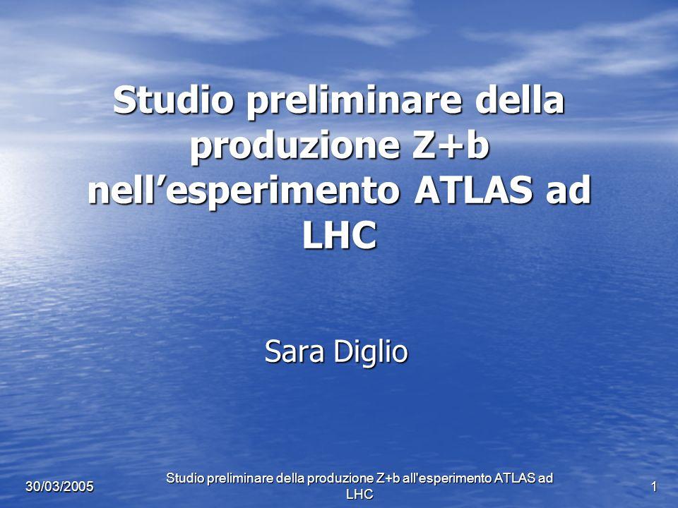 Studio preliminare della produzione Z+b all esperimento ATLAS ad LHC 2 30/03/2005 Indice Introduzione a LHC : l esperimento ATLAS Introduzione a LHC : l esperimento ATLAS Motivazioni dello studio del canale Z+b Motivazioni dello studio del canale Z+b Risultati ottenuti al Tevatron allesperimento D0 Risultati ottenuti al Tevatron allesperimento D0 Aspettazioni al Tevatron e ad LHC Aspettazioni al Tevatron e ad LHC Il software: programmi di simulazione Il software: programmi di simulazione Studi preliminari Z+b ad ATLAS: Studi preliminari Z+b ad ATLAS: - definizione degli eventi di segnale e di fondo - definizione degli eventi di segnale e di fondo - criteri di selezione del campione di segnale - criteri di selezione del campione di segnale - stima del numero eventi di segnale e di fondo attesi nel primo anno di presa dati ad LHC - stima del numero eventi di segnale e di fondo attesi nel primo anno di presa dati ad LHC - distribuzioni di impulso trasverso dei jet identificati come provenienti da un quark b - distribuzioni di impulso trasverso dei jet identificati come provenienti da un quark b Conclusioni Conclusioni
