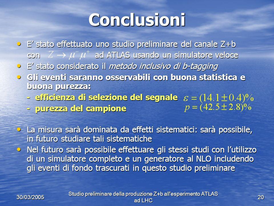 30/03/2005 Studio preliminare della produzione Z+b all esperimento ATLAS ad LHC 20 Conclusioni E stato effettuato uno studio preliminare del canale Z+b E stato effettuato uno studio preliminare del canale Z+b con ad ATLAS usando un simulatore veloce con ad ATLAS usando un simulatore veloce E stato considerato il metodo inclusivo di b-tagging E stato considerato il metodo inclusivo di b-tagging Gli eventi saranno osservabili con buona statistica e buona purezza: Gli eventi saranno osservabili con buona statistica e buona purezza: - efficienza di selezione del segnale - efficienza di selezione del segnale - purezza del campione - purezza del campione La misura sarà dominata da effetti sistematici: sarà possibile, in futuro studiare tali sistematiche La misura sarà dominata da effetti sistematici: sarà possibile, in futuro studiare tali sistematiche Nel futuro sarà possibile effettuare gli stessi studi con lutilizzo di un simulatore completo e un generatore al NLO includendo gli eventi di fondo trascurati in questo studio preliminare Nel futuro sarà possibile effettuare gli stessi studi con lutilizzo di un simulatore completo e un generatore al NLO includendo gli eventi di fondo trascurati in questo studio preliminare
