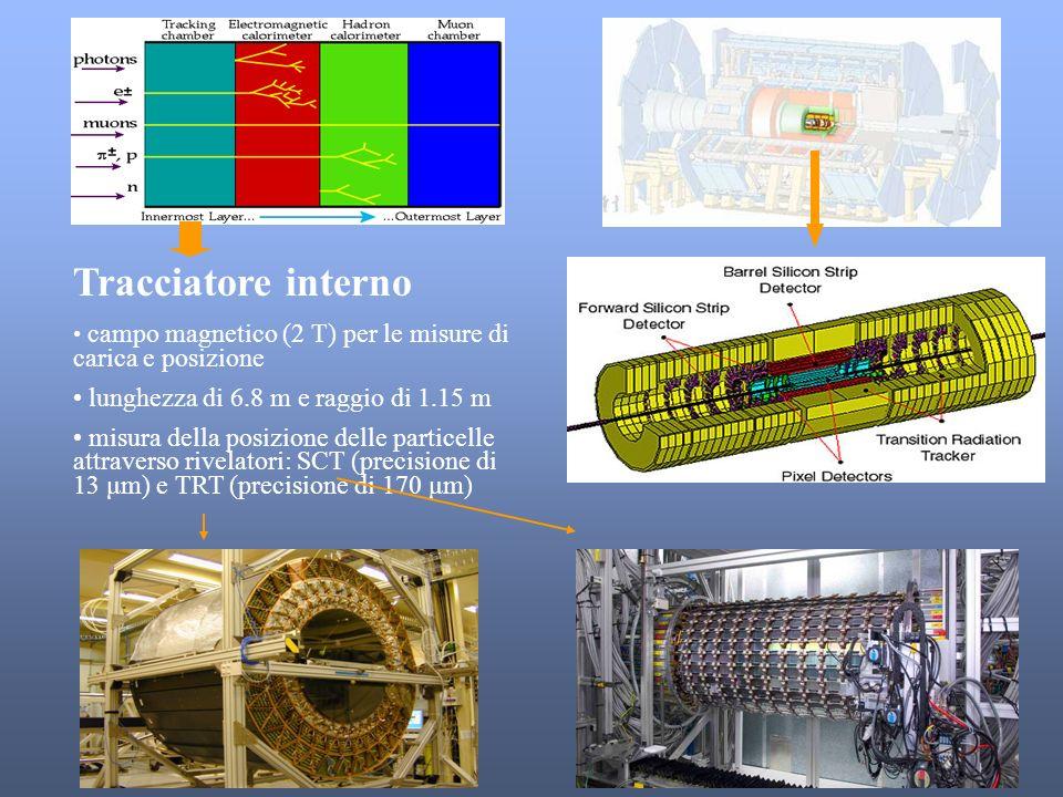 Tracciatore interno campo magnetico (2 T) per le misure di carica e posizione lunghezza di 6.8 m e raggio di 1.15 m misura della posizione delle parti