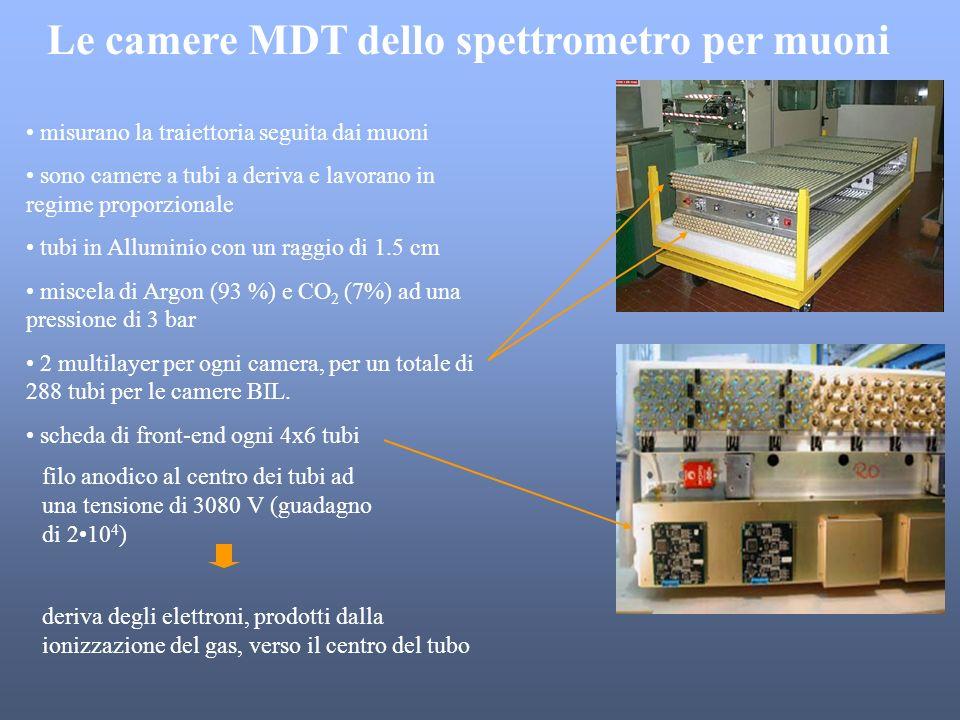 Le camere MDT dello spettrometro per muoni misurano la traiettoria seguita dai muoni sono camere a tubi a deriva e lavorano in regime proporzionale tu