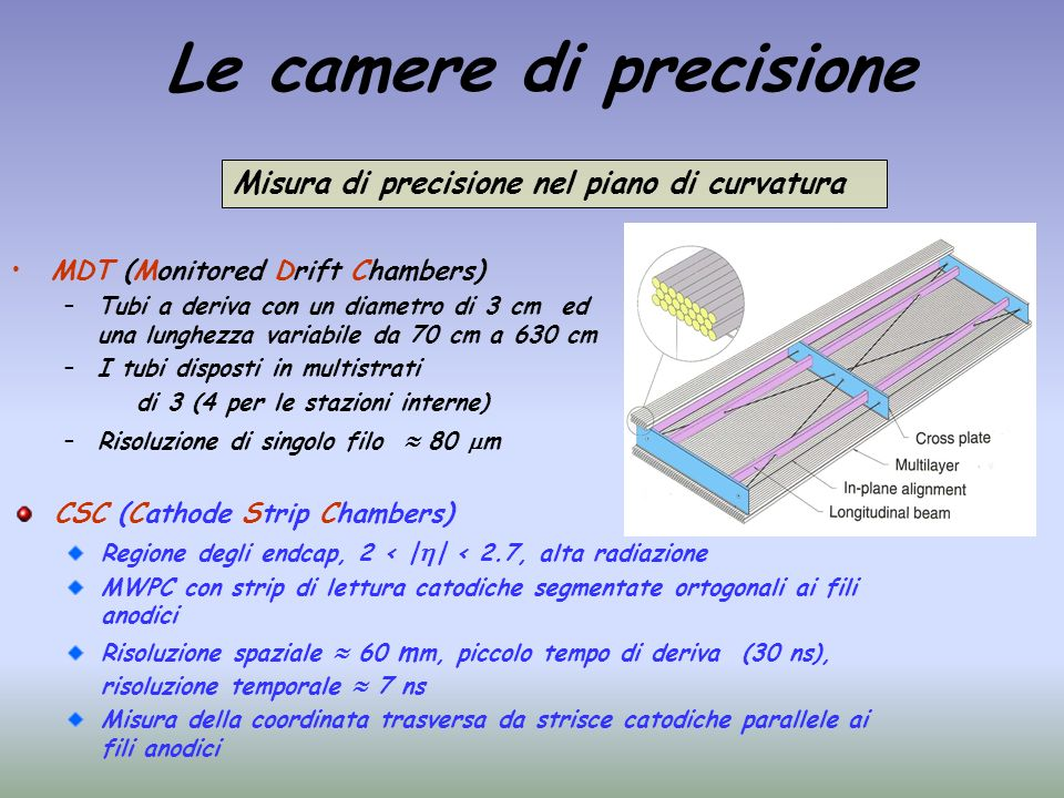 Le camere di precisione MDT (Monitored Drift Chambers) –Tubi a deriva con un diametro di 3 cm ed una lunghezza variabile da 70 cm a 630 cm –I tubi dis
