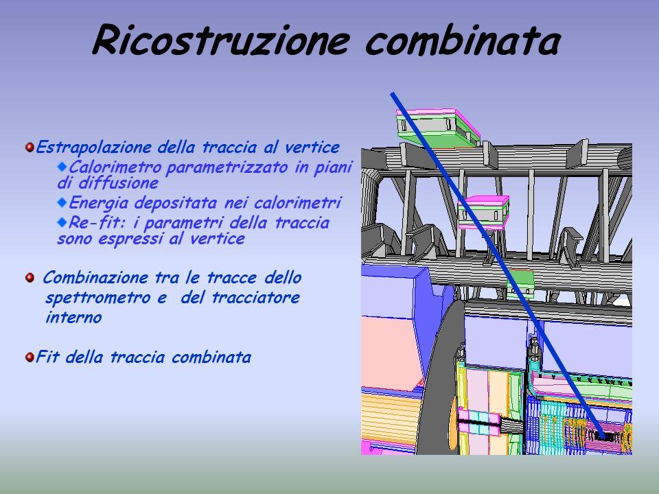 Ricostruzione combinata Estrapolazione della traccia al vertice Calorimetro parametrizzato in piani di diffusione Energia depositata nei calorimetri R