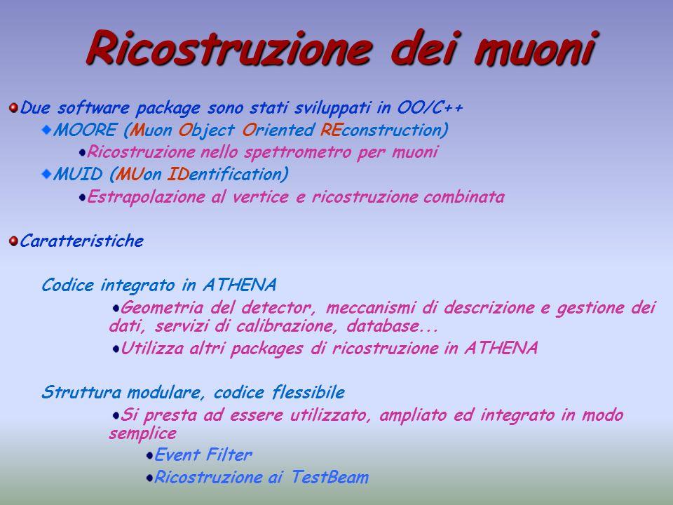 Ricostruzione dei muoni Due software package sono stati sviluppati in OO/C++ MOORE (Muon Object Oriented REconstruction) Ricostruzione nello spettrome