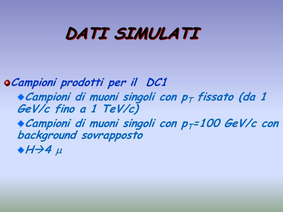 DATI SIMULATI Campioni prodotti per il DC1 Campioni di muoni singoli con p T fissato (da 1 GeV/c fino a 1 TeV/c) Campioni di muoni singoli con p T =10
