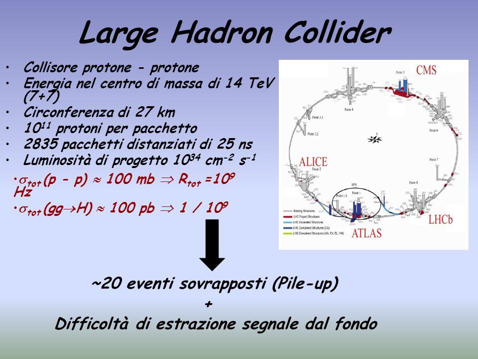 Large Hadron Collider Collisore protone - protone Energia nel centro di massa di 14 TeV (7+7) Circonferenza di 27 km 10 11 protoni per pacchetto 2835