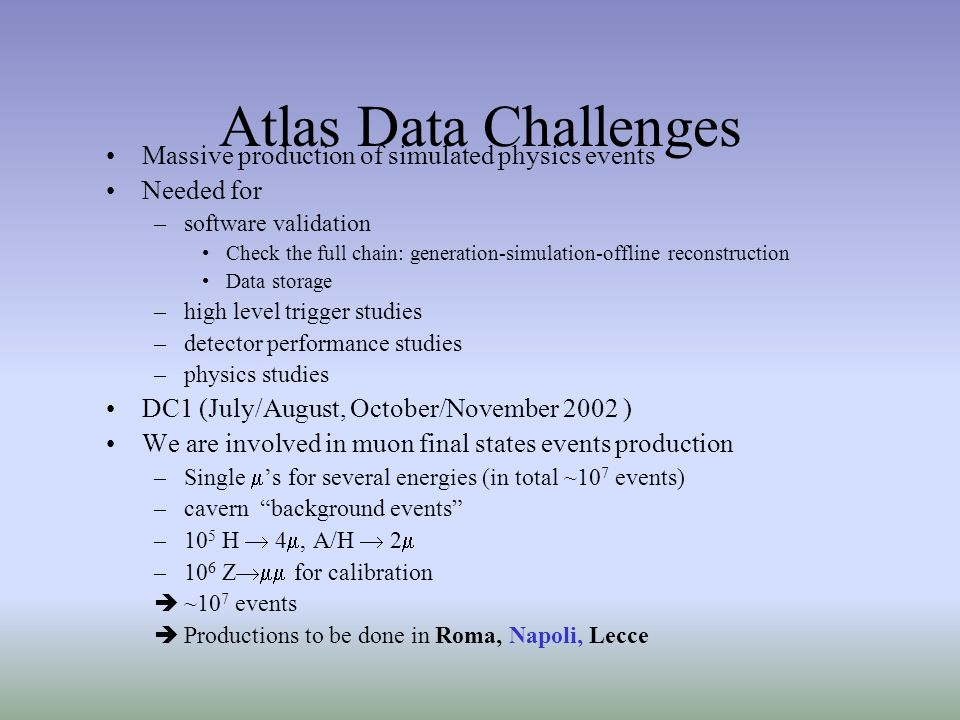 Atlas Data Challenges Massive production of simulated physics events Needed for –software validation Check the full chain: generation-simulation-offline reconstruction Data storage –high level trigger studies –detector performance studies –physics studies DC1 (July/August, October/November 2002 ) We are involved in muon final states events production –Single s for several energies (in total ~10 7 events) –cavern background events –10 5 H 4, A/H 2 –10 6 Z for calibration ~10 7 events Productions to be done in Roma, Napoli, Lecce