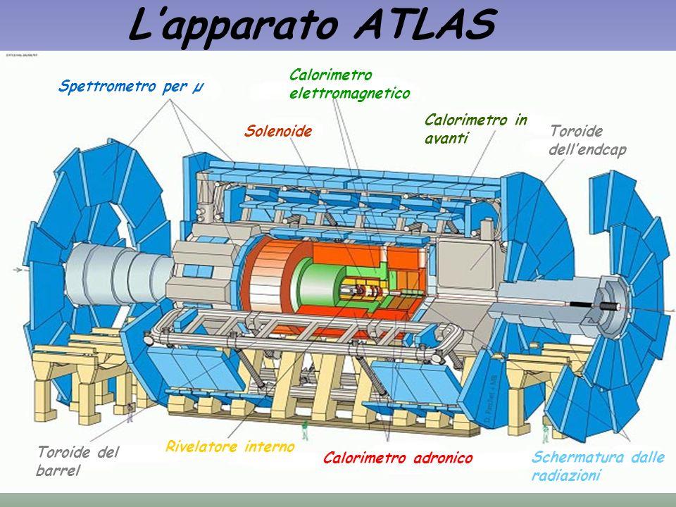 Lapparato ATLAS Spettrometro per µ Calorimetro elettromagnetico Solenoide Calorimetro in avanti Toroide dellendcap Toroide del barrel Rivelatore inter