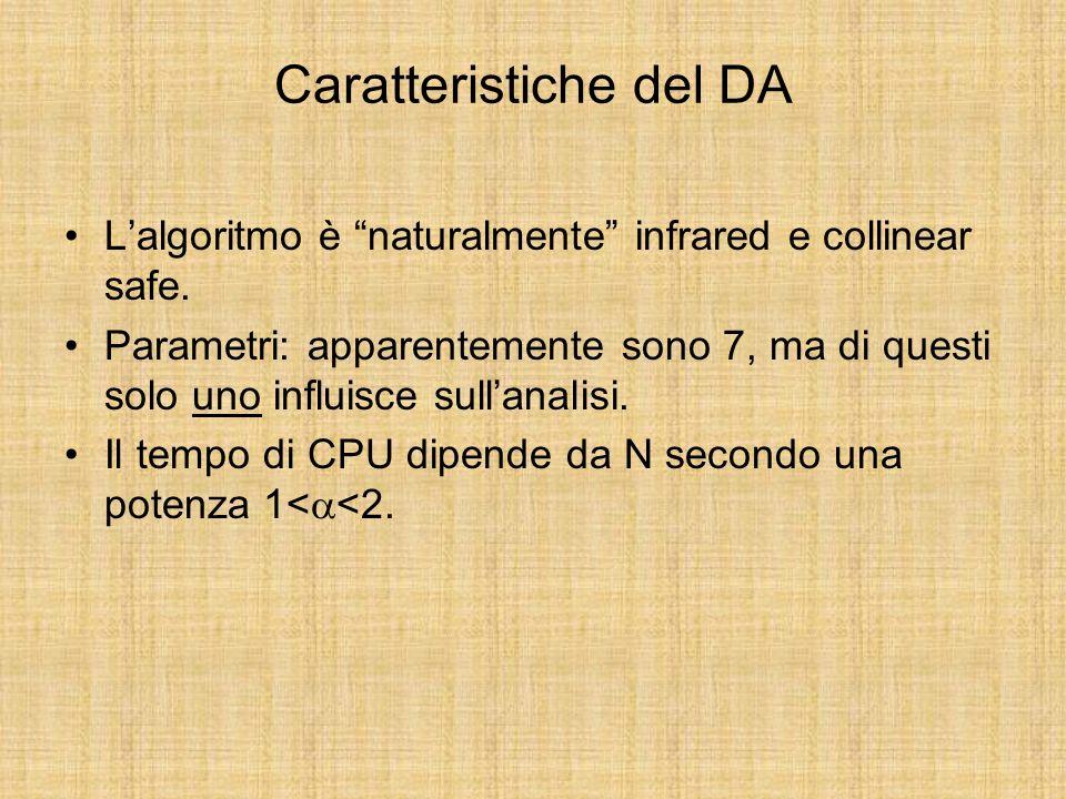 Caratteristiche del DA Lalgoritmo è naturalmente infrared e collinear safe.