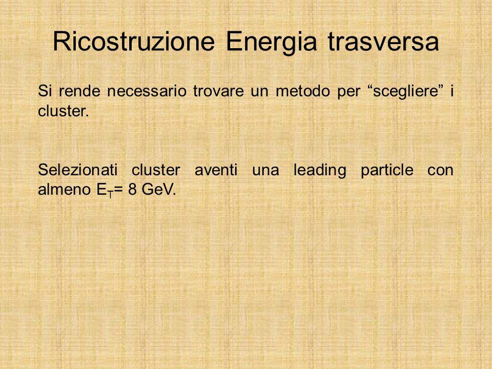 Ricostruzione Energia trasversa Si rende necessario trovare un metodo per scegliere i cluster.