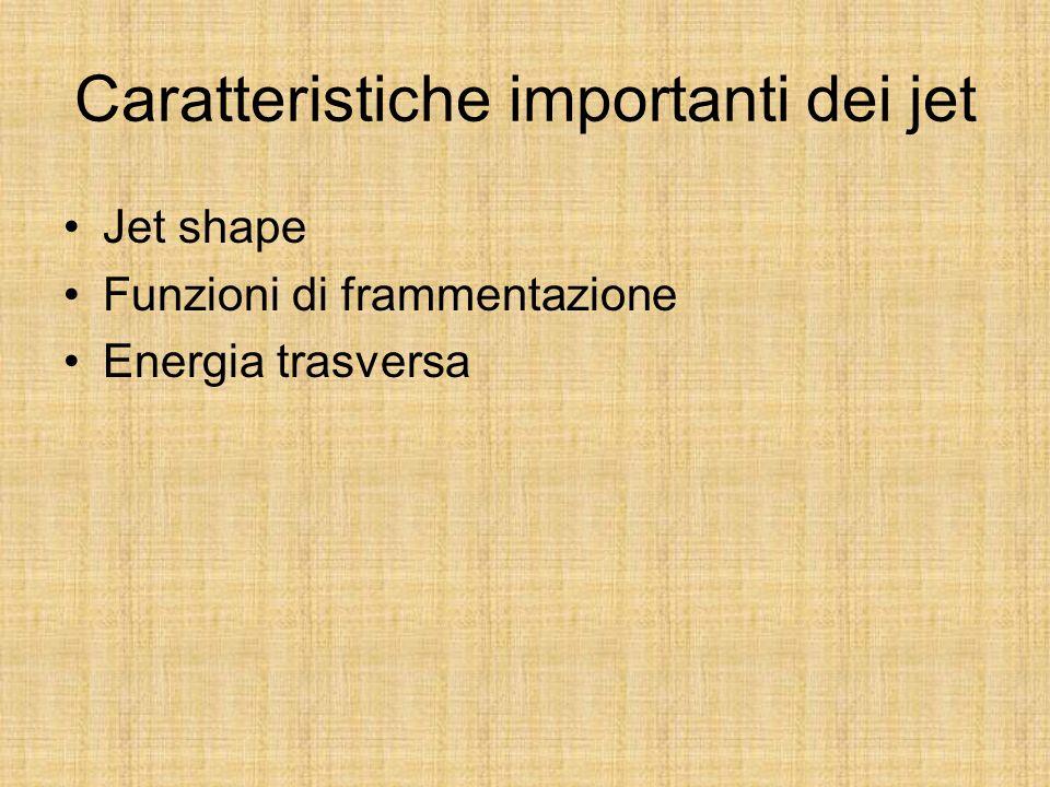 Caratteristiche importanti dei jet Jet shape Funzioni di frammentazione Energia trasversa