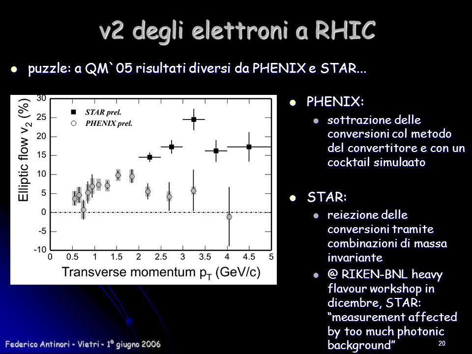Federico Antinori - Vietri - 1º giugno 2006 20 puzzle: a QM`05 risultati diversi da PHENIX e STAR... puzzle: a QM`05 risultati diversi da PHENIX e STA