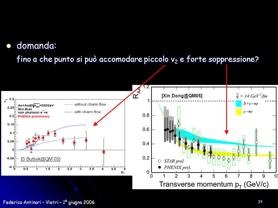 Federico Antinori - Vietri - 1º giugno 2006 21 domanda: domanda: fino a che punto si può accomodare piccolo v 2 e forte soppressione? [S.Butsyk@QM`05]