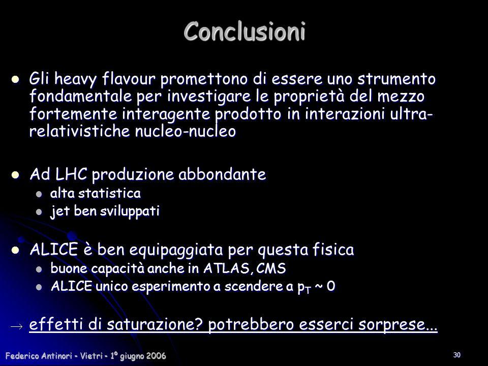 Federico Antinori - Vietri - 1º giugno 2006 30Conclusioni Gli heavy flavour promettono di essere uno strumento fondamentale per investigare le proprie