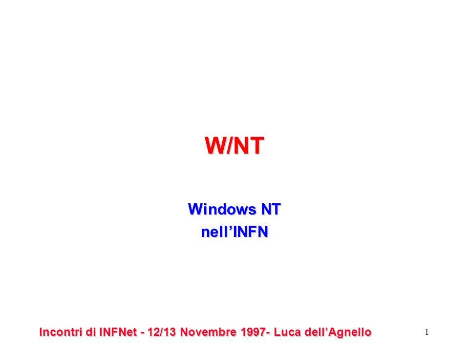 Incontri di INFNet - 12/13 Novembre 1997- Luca dellAgnello 1 W/NT Windows NT nellINFN