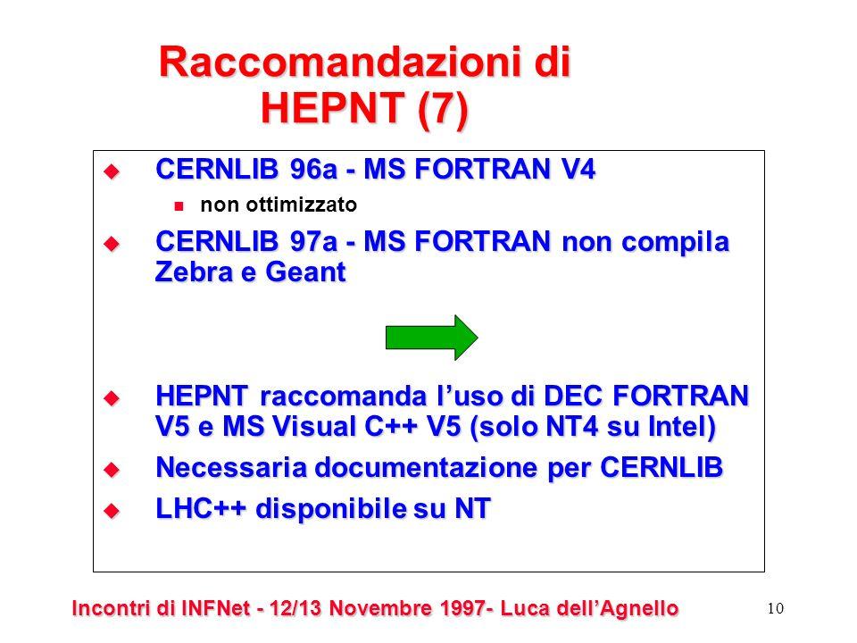 Incontri di INFNet - 12/13 Novembre 1997- Luca dellAgnello 10 Raccomandazioni di HEPNT (7) CERNLIB 96a - MS FORTRAN V4 CERNLIB 96a - MS FORTRAN V4 non ottimizzato CERNLIB 97a - MS FORTRAN non compila Zebra e Geant CERNLIB 97a - MS FORTRAN non compila Zebra e Geant HEPNT raccomanda luso di DEC FORTRAN V5 e MS Visual C++ V5 (solo NT4 su Intel) HEPNT raccomanda luso di DEC FORTRAN V5 e MS Visual C++ V5 (solo NT4 su Intel) Necessaria documentazione per CERNLIB Necessaria documentazione per CERNLIB LHC++ disponibile su NT LHC++ disponibile su NT