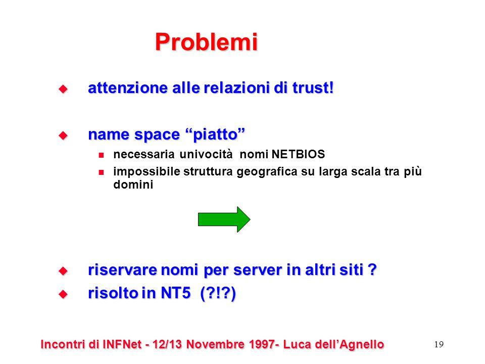 Incontri di INFNet - 12/13 Novembre 1997- Luca dellAgnello 19 Problemi attenzione alle relazioni di trust.